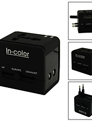 5 in 1 Multi-Nation Travel Adapter with USB Charger / USB / US / EU / UK / AU