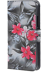 Black with Rose Flower Magnetic Leather Cover Case with Stand and Card Slots for Microsoft Lumia 640
