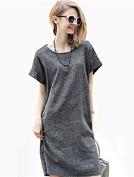 Women's Stylish Short Sleeve Round Collar Dress