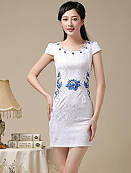 Women's Vintage/Bodycon/Party/Work Short Sleeve Dresses (Cotton Blend)