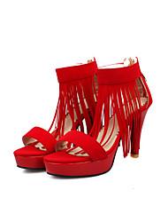 Women's Sandals Summer Ankle Strap Fleece Office & Career Casual Party & Evening Stiletto Heel Zipper Tassel Black Purple Red Walking