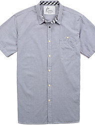 Men's Short Sleeve Shirt , Cotton Casual/Work/Formal/Sport/Plus Sizes Striped