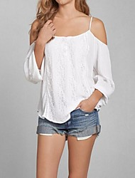 Women's Sexy Off The Shoulder Lace Splicing Loose Chiffon Blouse