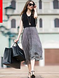 casual vestido midi sem mangas inelástica das mulheres (spandex / poliéster)