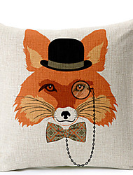 Modern Style Fox glasses Patterned Cotton/Linen Decorative Pillow Cover