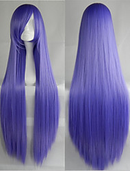 Hot Sale 40 Inches High Temperature Fiber Long Straight lavender Cosplay Costume Wig Side Bang