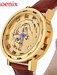 des hommes montre motif de phénix chinois automatique montre-bracelet mécanique automatique en cuir PU auto-vent de l'horloge (couleurs