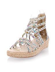 Women's Shoes Fabric Low Heel Slingback Sandals Office & Career/Dress Blue/Red/Beige