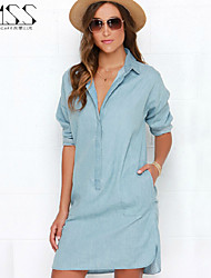 SMSS Women's Fashion Casual Plus Shirt Style Jean Dress