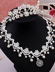 Women's Wedding Jewelry Set With Imitation Pearl Rhinestone