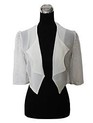 pele envolve casacos / jaquetas noite / boleros 3/4-comprimento da manga chiffon / laço preto / marfim bolero shrug
