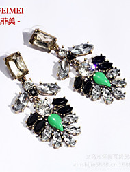 The new European and American fashion ear jewelry alloy earrings gemstone earrings female luxury clothing accessories