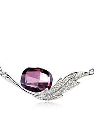 mi único collar corto ángel plateado con 18k verdadera amatista platino cristalizó piedras de cristal austríaco