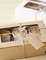Kraft Paper Color Six Cup Cake Box (Excluding Accessories)(Set of 6)