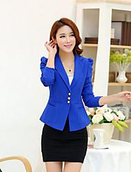 Women's Casual Medium Long Sleeve Short Blazer (Cotton Blends)
