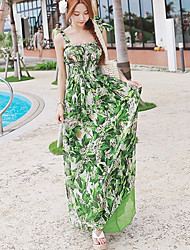 Women's Beach/Casual Floral Inelastic Sleeveless Maxi Dress (Chiffon)