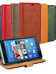 Bark Grain Genuine Leather Full Body Cover with Stand and Case for Sony Xperia Z3 Compact  (Assorted Colors)