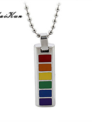 2015 new rainbow gay lesbian strip silver pendant necklace