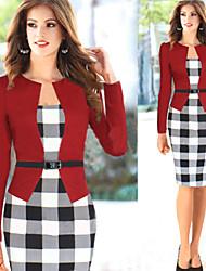 Para Women's Bodycon/Party/Work Tartan Long Sleeve Dresses (Cotton Blend)