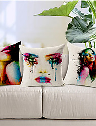 Set of 3 Body painting Colorful Flower Cotton/Linen Decorative Pillow Cover