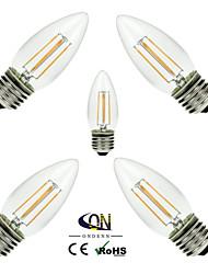 5 pièces ONDENN E26/E27 4 COB 400 LM Blanc Chaud C35 edison Vintage Ampoules à Filament LED AC 100-240 / AC 110-130 V
