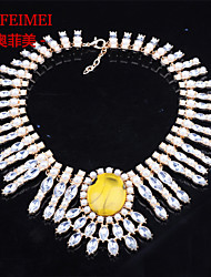 Europe and America pearl inlay alloy round gemstone necklace fashion necklace female