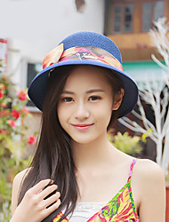 Women Vintage/Cute/Party/Casual Summer Bow Straw Floppy Hat