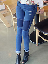 Frauen Casual Patch Slim Jeans