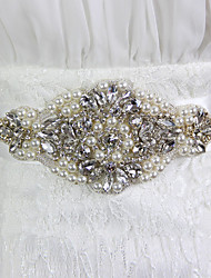 Satin Wedding Party/ Evening Sash-Beading Rhinestone Imitation Pearl Beading Rhinestone Imitation Pearl