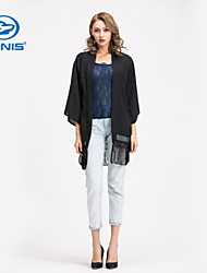 CANIS@New Stylish Women's Bawting Kimono Black Chiffon Jacket