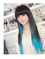 donne bianco blu colori resistenti al gradiente mescolato al calore parrucca cosplay diritta parrucche anime