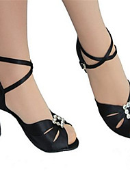 Women's Dance Shoes Latin Satin Flared Heel Black