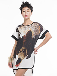 M.Quera Women's Round Collar Chinese Style Casual Dress with Printing Motifs, Original Design
