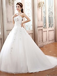 Ball Gown Petite Wedding Dress - Ivory Sweep/Brush Train / Court Train Sweetheart Satin / Tulle