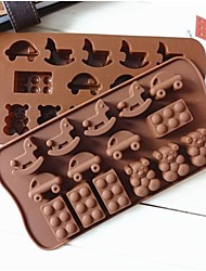 Fashion Style Horse Car Shape Ice Chocolate Decorating Mold Silicone Cake Mould Kitchen Cooking Tools (Random Color)