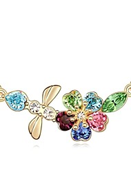 Sweets of Sakura Short Necklace Plated with 18K Champagne Gold Mixed Color Crystallized Austrian Crystal Stones