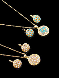 18K Real Gold Plated Pearl/Blue Necklace+Earrings Jewelry Set