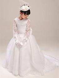 A-line Court Train Flower Girl Dress - Organza/Satin Short Sleeve