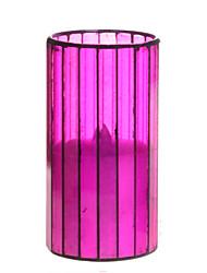 Zuhause Eindrücke ™ 3 * 6-Zoll-Amaranth vertikale Streifen Mosaikglas flammenlose geführte Kerze mit Timer, Batterie betrieben
