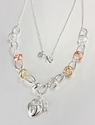 Women's  Hot Style  European Fashion  Simple Heart Lock  Silver-Plating  Necklace