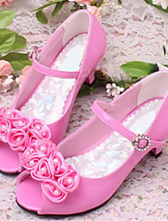 Girls' Shoes Dress/Casual Peep Toe Faux Leather Pumps/Heels Pink/Ivory