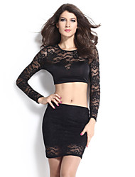 Women's  Black Lace Overlay Sleeves Skirt Set  Suit (Blouse & Skirt)