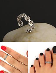 verstelbare antiek zilver vintage bloem teen ring lichaam ring voet strand sieraden