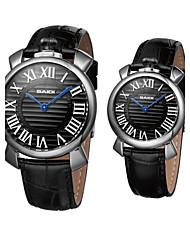 relógio de estilo de negócios faixa de couro de pulso de quartzo do casal (cores sortidas)