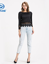 CANIS@Fashion Women's Sheer Sleeves Embroidery Lace Crochet Blouse