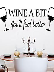 decalques de parede adesivos de parede, estilo as novas vinho copo de pvc adesivos de parede