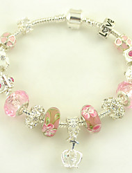 Women's Charms Bracelet of New Jewelry Pulseras Silver Plated DIY Flower Murano Glass Beads and Crown