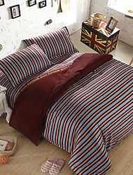 Elegant Strip Thick Sanded Fabric for Autumn/Winter Set of 4pcs Queen/Twin Size