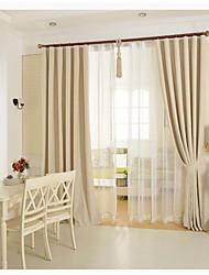 un panneau coton lin solide beige panneau de rideau drapé mélange