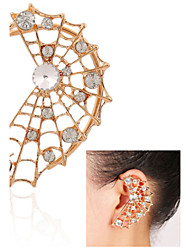 Toonykelly Fashionable Spider Web Gold Plated with Crystal Ear Hook(1Pair)